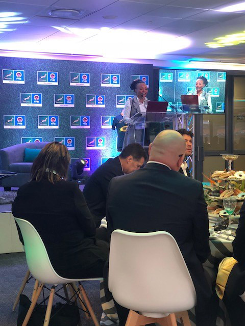 Faye Mikiwe, Marketing Director at FNB, explaining their interaction and pertnership with SARU