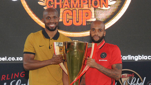 Kaizer Chiefs player Ramahlwe Mphahlele with Orlando Pirates captain Oupa Manyisa