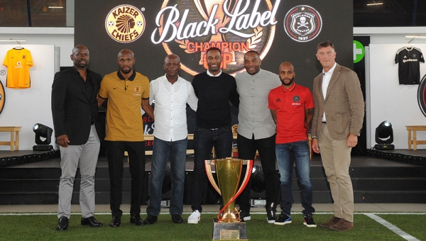 Kaizer Chiefs and Orlando Pirates at the 2017 Carling Black Label Champion Coach media launch