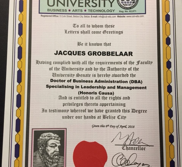 Jacques Grobbelaar Honoured by the Commonwealth University